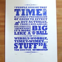 Hand Pulled Limited Edition Dr Who 'Time' Screen by BarryDBulsara