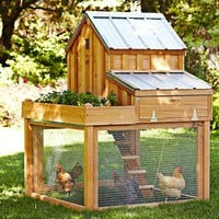 Cedar Chicken Coop & Run with Planter