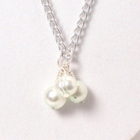 Cluster Necklace Freshwater Pearls - Mint - Silver Chain