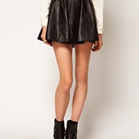 ASOS Full Skater Skirt in Leather at asos.com