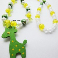 Girls Jewelry Wooden Green Giraffe Beads Long Necklace Children