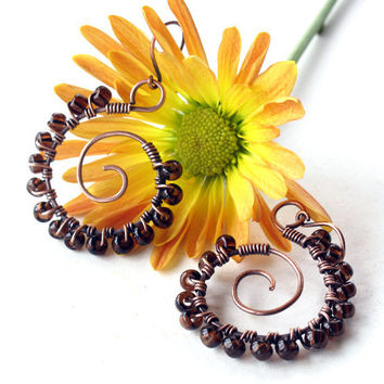 Beaded hoop earrings - cognac brown glass beads, copper wire wrapped spirals
