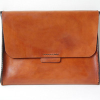 Handstitched Cognac Leather iPad Case / Sleeve