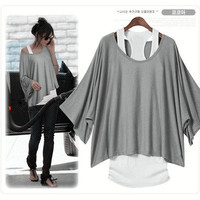 Women&#x27;s 2 PCS Casual Batwing Loose Tops Shirts Blouse+Tank Top Camisole Vest S-M