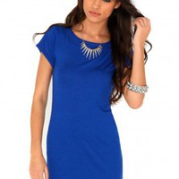 Missguided - Abilene Round Neck Mini Dress In Cobalt