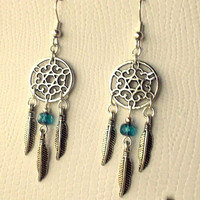 Dreamcatcher Earrings - Turquoise Blue