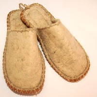 natural color felt slippers by fullmoon87 on Etsy