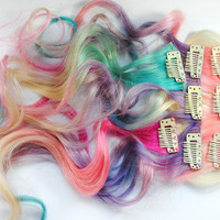 Pretty Pony - My Little Pony / Ombre Pastel Set - Human Hair Extensions / Purple Pink Blonde Blue / Long Tie Dye Colored Hair