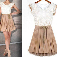 2012 spring summer new womens Court style Retro Lace Sleeveless vest dress