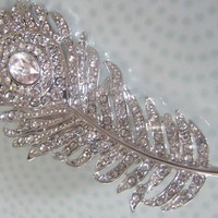 Oscar Style Crystal Hair Brooch Peacock by bethanylorelle on Etsy