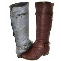 Tall Knee High Riding Buckle Boot Womens Faux Leather Fashion Brown Black Gray