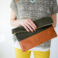 Army green + leather clutch - Limited stock by Vanilla & Lace
