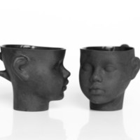 Porcelain doll head cups in black - whimsical set of black ceramic artisan mugs, for coffee or tea