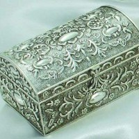 Amazon.com: ANTIQUE SILVER CHEST BOX WITH FLORAL DESIGN: Home & Kitchen