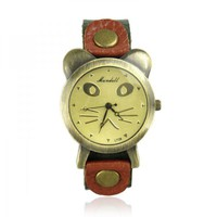 Cat Face Leather Watch on Luulla