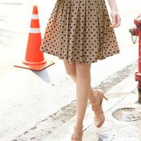 Ladies Retro Waves Dotted Pleated Coffee Skirts : Wholesaleclothing4u.com