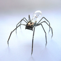 Mechanical Spider Sculpture No 12 Recycled Watch Parts Clockwork Arachnid Bug Insect Figurine Stems Lightbulb Arthropod A Mechanical Mind