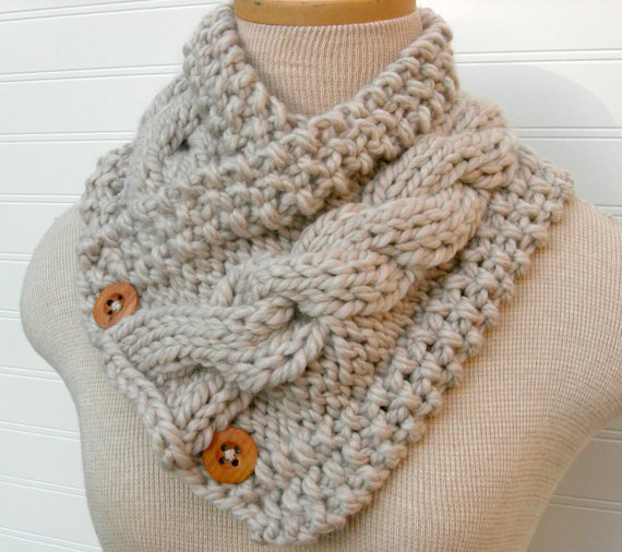 Knit Scarf Cable Cowl Wheat by WindyCityKnits on Etsy