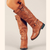 Buckle Knee High Riding Boots Brown Tan Tall Zipper Strap New Womens Fashion