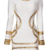 Bqueen Sass Bide Embellished Jersey White Dress H02B