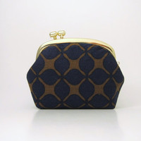 Gold Frame Coin Purse- navy blue
