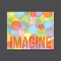 "Imagine, Inspirational, Gift Typography 10 x 8"" Print, Wall Art"