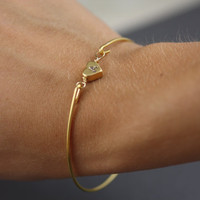 Simply Gold Personalized Heart Bangle Bracelet