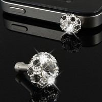 Bling Gray Crystal 3.5mm Earphone Cap Anti Dust Plug Stopper for iPhone 5G 3G 4S