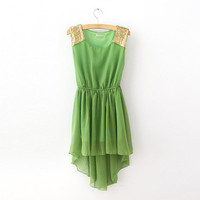 short chiffon sleeveless long vest dress waist sequin hem Bohemia dress by ClothLess