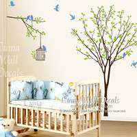 Vinyl wall decals tree wall decal birds birdcage wall decals nursery wall sticker children wall decals - tree birds birdcage Z124 Cuma