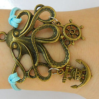 Bracelet-octopus bracelet, Ancient bronze anchor and rudder Adjustable leather charm bracelet
