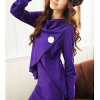 Under $8 Korean Japanese Trendy Clothing Wholesale Turn Down Neckline irregular Design Front Opening Long Sleeves Dress_F/W Dresses_Wholesale - Wholesale Clothing, Wholesale Shoes, Bags, Jewelry, Wholesale Fashion Apparel & Accessories Online