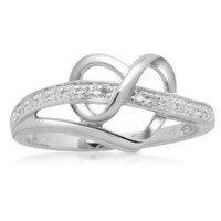 Sterling Silver Diamond Heart Ring (1/20 cttw), Size 7