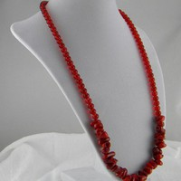 Red Sponge Coral Nugget and Glass Necklace