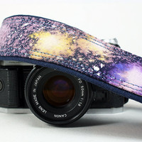 Galaxy No.16 Camera Strap, Hand Painted, dSLR or SLR, Cosmos, Nebula, OOAK
