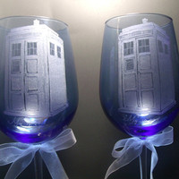 police box tardis style doctor who wedding them blue wine glasses hand engraved