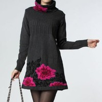 Various Unique Gray Long Sleeves Flower Wool Women's Dress : Contemporary Printed Dresses