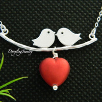 Kissing Love Birds Necklace, Love Necklace, Heart Charm, Couple Jewelry, Girlfriend Gift, Anniversary, Romance