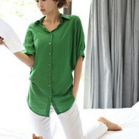 Korean Casual Lady Fashion Green Shirts : Fashionwholesale4u.com