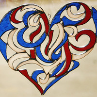 Stained Glass Heart Red White &amp; Blue Window by GaleazGlass on Etsy