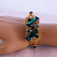 Emerald and Peridot Ornate Slider Bracelet by GiltyGirlVintage