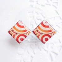 Red and white christmas swirl earring studs