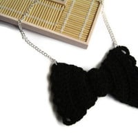 Black Bow Tie Necklace, Crochet Bow Necklace, Black Silver Bow Tie, Crochet Bow Tie, Statement Necklace, Gift for Her, Crochet Necklace,OOAK