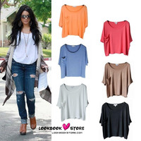 Celeb Hot Slouchy Baggy Pocket Short Tee Top 16 Colours