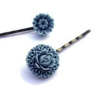 Flower hair pins resin gray pigeon blue Set of 2 by JPwithLove