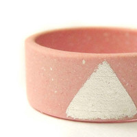 Pink Jewelry - Porcelain Rings - Silver and Pink Porcelain Sunset Ring - Size O - Size 7 1/2