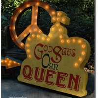 English God Save the Queen retro Sign English God Save the Queen retro Sign [crown_lighted_sign] - $975.00 : Bars Cigars & Brew, Home Bar Furniture