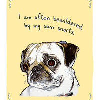 Pug snorting 5x7 print of Original Painting by tinyconfessions