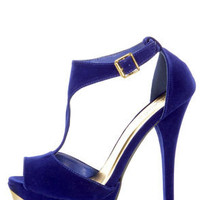 Qupid Count 09 Royal Blue Velvet and Gold T Strap Platform Heels