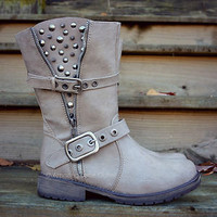 Spiked & Studded Boots Beige-Ice Faux Leather Riding Rustic Buckle Strap Womens